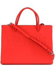 Moschino Logo Tote Red