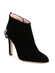 Sarah Jessica Parker Balcony Velvet And Crystal Booties Black Velvet