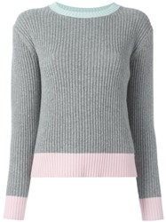 Chinti And Parker Ribbed Colour Block Jumper Grey
