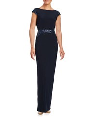Betsy And Adam Sequin Accented Scoopback Cap Sleeve Column Gown Navy