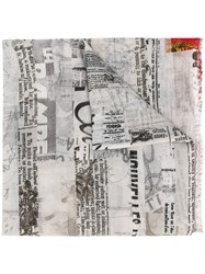 Faliero Sarti Text And Floral Bricolage Printed Cotton Scarf 60