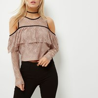 River Island Womens Petite Nude Cold Shoulder Lace Top