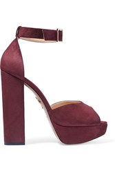 Charlotte Olympia Eugenie Suede Platform Sandals Red