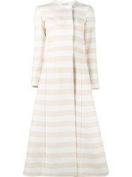 Emilia Wickstead Striped Domenique Coat Yellow Orange