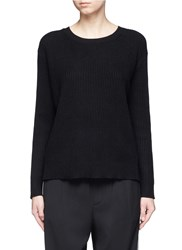 Vince Wrap Back Cashmere Cotton Sweater Black
