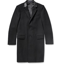 Lanvin Leather Trimmed Wool Twill Overcoat Black