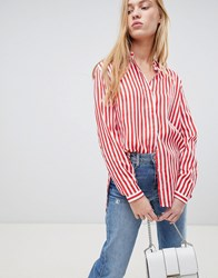 B.Young Stripe Shirt Tomato Red