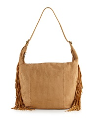 Ash Fringy Leather Hobo Bag Tan