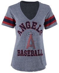 G3 Sports Women's Los Angeles Angels Of Anaheim Triple Play T Shirt Heather Gray Red Navy