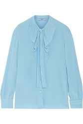 Prada Pussy Bow Ruffled Silk Crepe De Chine Blouse Light Blue