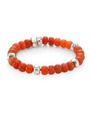 John Hardy Bamboo Peach Moonstone And Sterling Silver Bead Bracelet