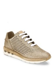 Salvatore Ferragamo Gils Sparkle Lace Up Sneakers Panna