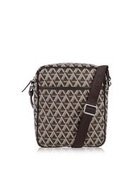 Lancaster Paris Ikon Brown Coated Canvas Men's Crossbody Bag