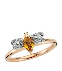 Bee Goddess Rose Gold Diamond And Citrine Queen Ring Yellow