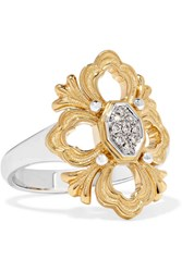 Buccellati Opera 18 Karat Yellow And White Gold Diamond Ring 52