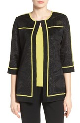 Ming Wang Women's Contrast Piping Burnout Floral Knit Jacket