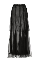 Monique Lhuillier Tulle Tiered Midi Skirt Black