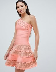 Forever Unique Structured One Shoulder Skater Dress With Lace Inserts Pink
