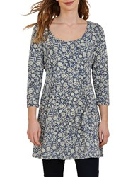 Seasalt Treecreeper Printed Tunic Dress Lace Flower Marine