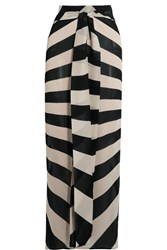 Gareth Pugh Tie Front Striped Silk Blend Chiffon Maxi Skirt Black