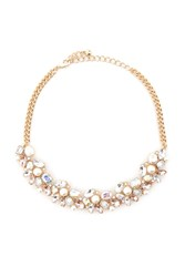 Forever 21 Iridescent Statement Necklace Gold Pink