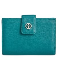 Giani Bernini Softy Leather Wallet Created For Macy's Dark Teal Silver