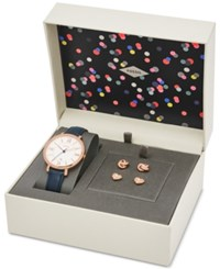 Fossil Women's Jacqueline Blue Leather Strap Watch And Stud Earrings Box Set 36Mm Es4140set
