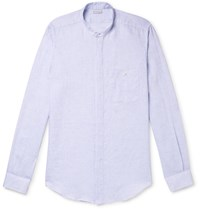 Caruso Slim Fit Grandad Collar Slub Linen Shirt Blue