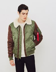 Alpha Industries B3 M Faux Leather Flight Jacket Green