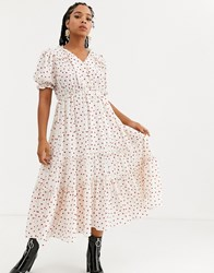 Sister Jane Midi Tea Dress With Faux Pearl Buttons And Ruffles In Ditsy Heart Print White