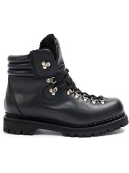 Gucci Lace Up Boots Leather Rubber Black