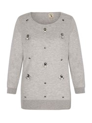 Yumi Wool Blend Jumper With Embellishment Grey