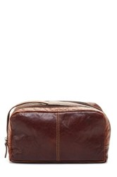 Jack Georges Voyager Genuine Buffalo Leather Toiletry Bag Brown