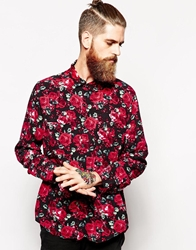American Apparel Oversized Rose Print Rayon Shirt Red