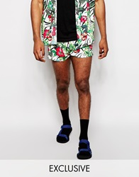 Reclaimed Vintage Beach Shorts In Floral Print White