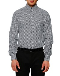 Dolce And Gabbana Micro Dot Woven Sport Shirt White Black Black White