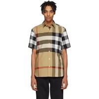 Burberry Beige Ip Check Windsor Short Sleeve Shirt