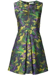 Versace Collection Metallic Camouflage Flared Dress Green
