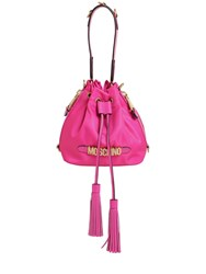 Moschino Logo Nylon Bucket Bag Fuchsia