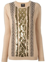 Markus Lupfer Sequined Cable Jumper Nude Neutrals