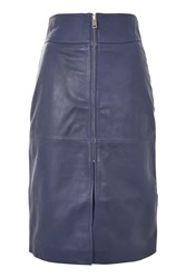 Topshop Zip Front Leather Skirt Navy Blue