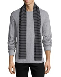 Vince Striped Ribbed Wool Scarf H Shadow Black