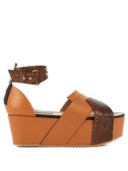 Chrissie Morris Kenia Leather And Snakeskin Flatform Sandals Tan