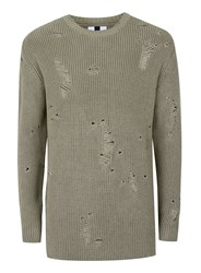 Topman Khaki Ripped Military Style Slim Fit Sweater