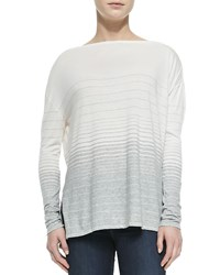 Vince Striped Jersey Boat Neck Tee Off White