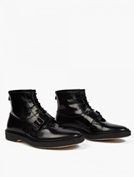 Adieu Black Leather Type 46 Strap Detail Boots
