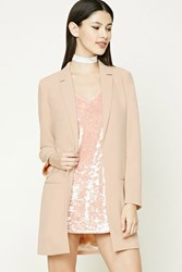 Forever 21 Textured Longline Blazer Taupe