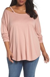 Sejour Plus Size Women's Off The Shoulder Tee Pink Dusty Rose