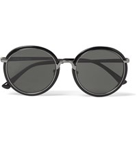 Dries Van Noten Linda Farrow Round Frame Gunmetal Tone And Acetate Sunglasses Black