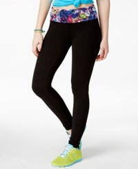 Material Girl Active Juniors' Floral Print Lace Trim Leggings Only At Macy's Classic Black
